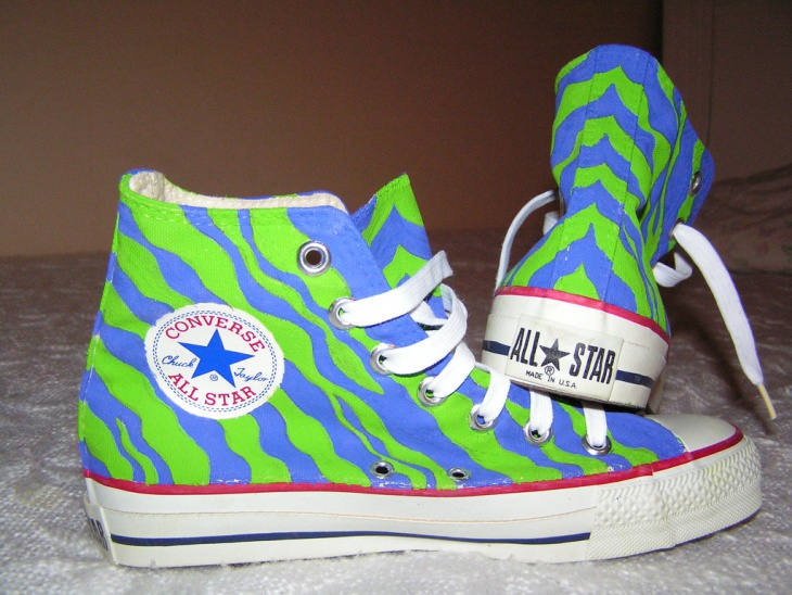 Green and Blue Zebra Sneakers