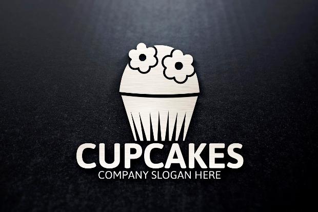 Black and White Cupcake Logo