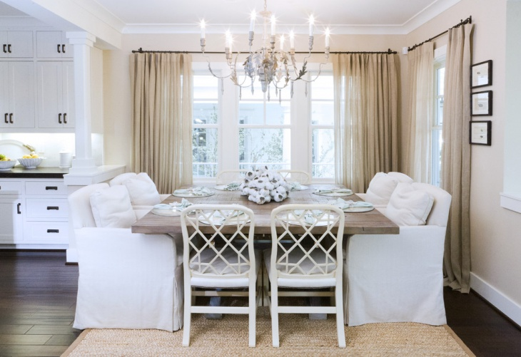 white coastal dining room