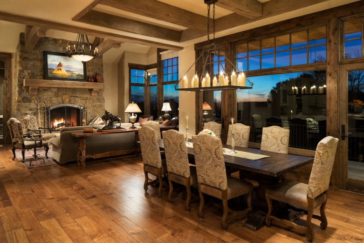 rustic living dining room