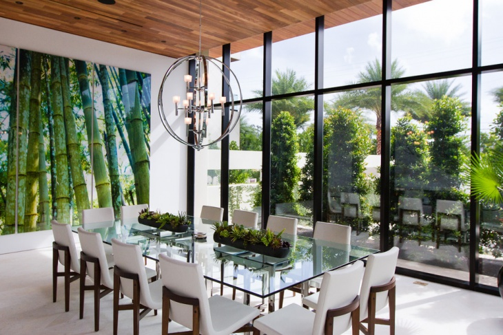 beautiful outer view glass dining room