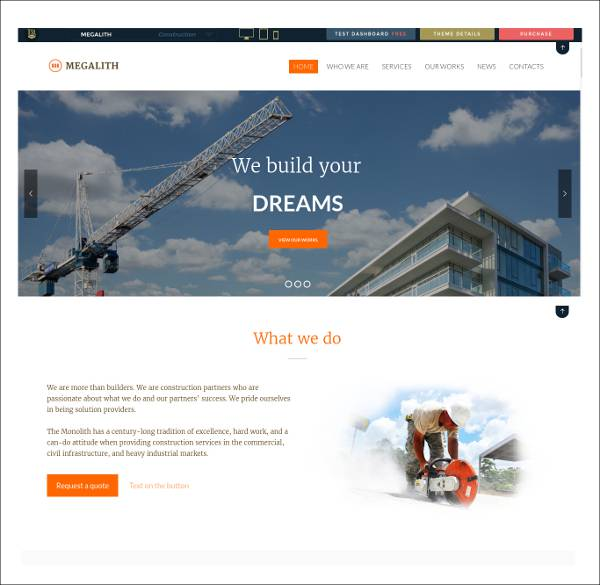 modern construction wordpress theme