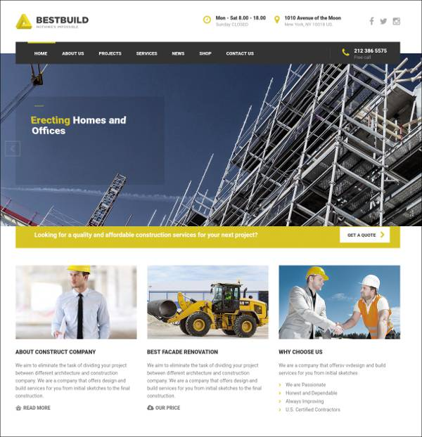 responsive architecture wordpress template