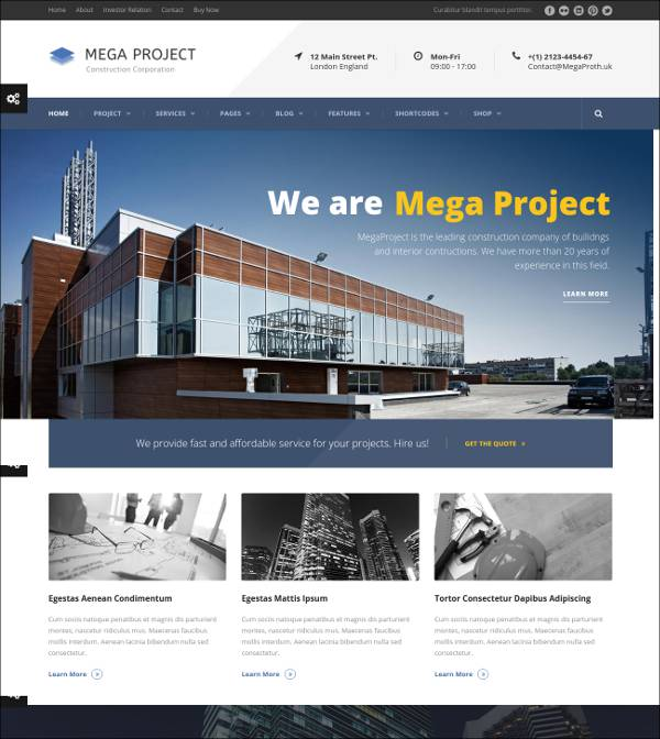 mega construction companies wordpress theme