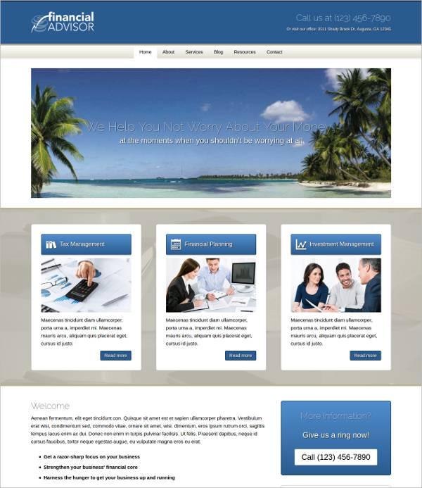financial advisors marketeers wordpress theme