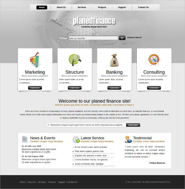 finance based wordpress theme