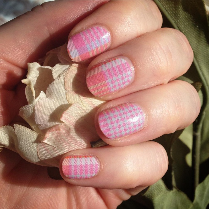 Multicolor Gingham Nail Design
