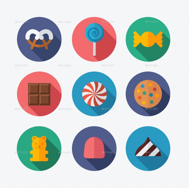 Flat Candy Icon Set