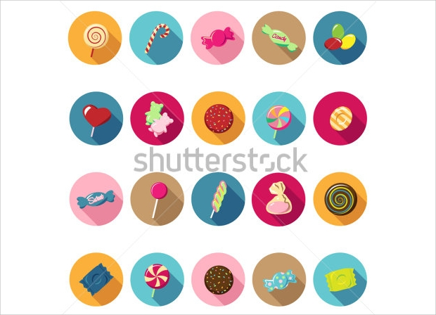 Candy Icon Set of Flat Design
