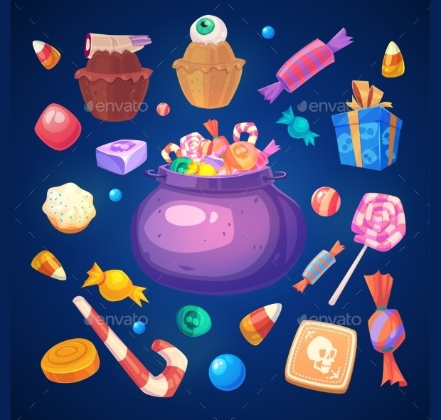 Set of Colorful Sweets and Candies Icon Set