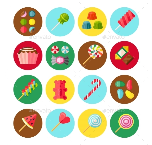 Sweet Candy Flat Isolate Icon Set