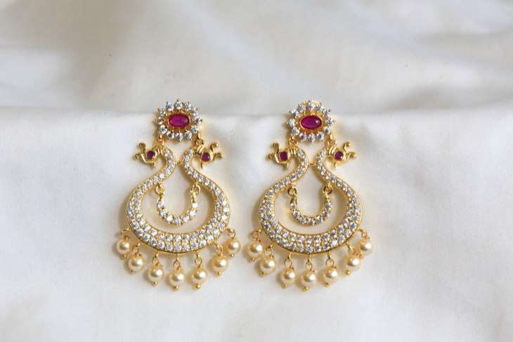 Gold Peacock Earrings