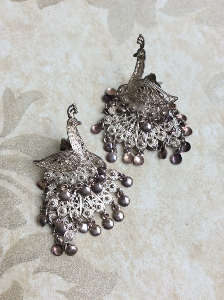 vintage peacock earrings