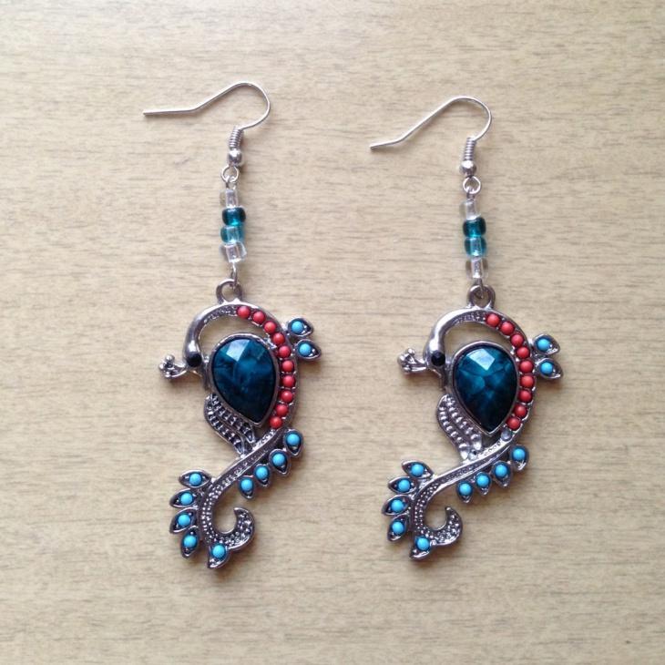 Beautiful Beaded Peacock Earrings