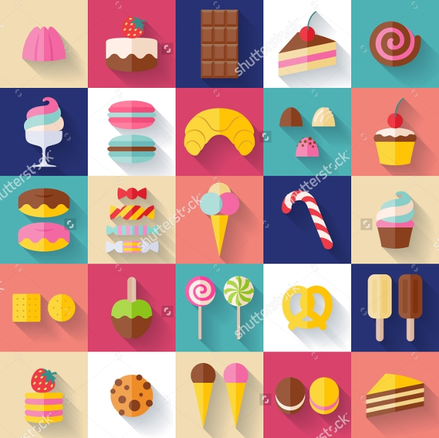 Cute Colorful Long Shadow Candies and Lollipop Icons