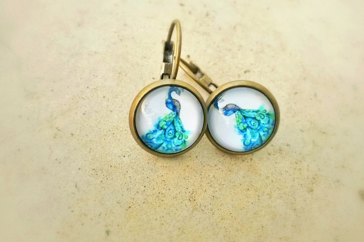 cute peacock drop earrings