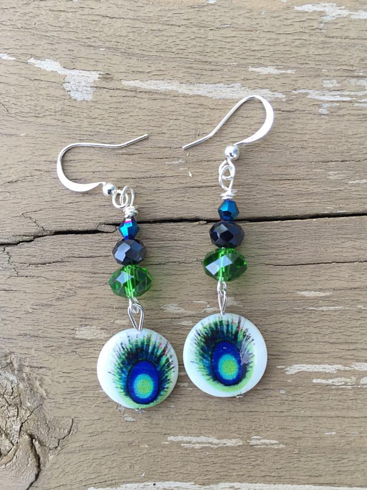 Handmade Peacock Earrings Idea