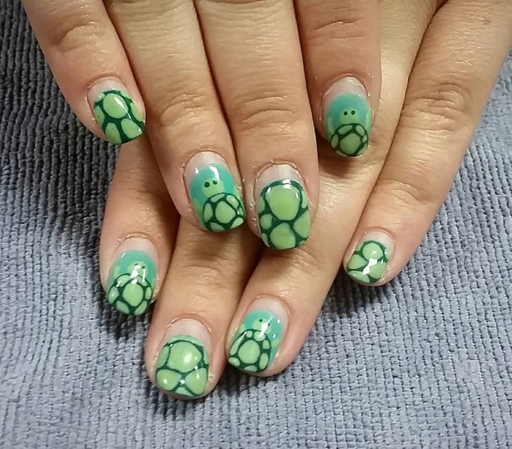Cute Turtle Nail Art