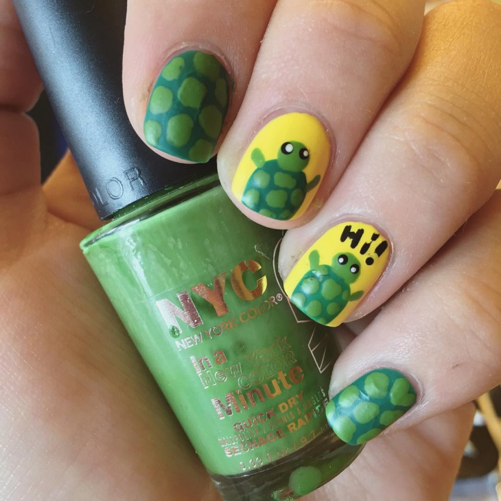 disco turtle nail art
