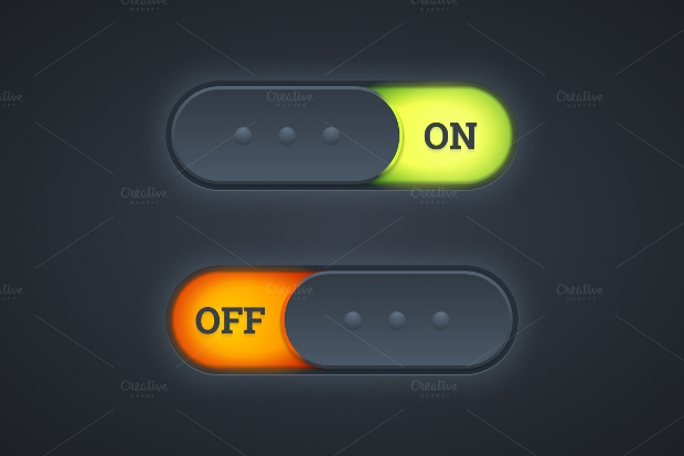 on and off switch toggle button psd