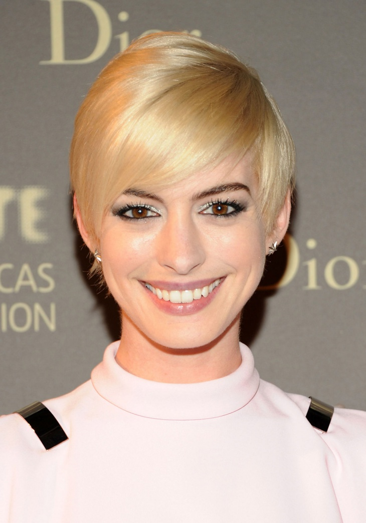 Anne Hathaway Straight Punk Hairstyle