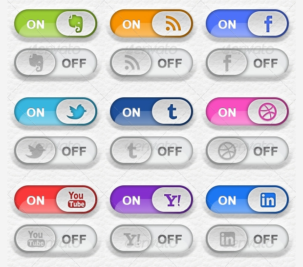 toggle switch social media buttons
