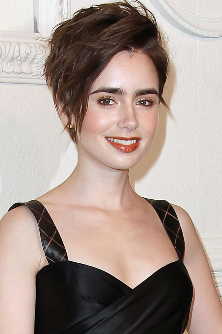 Lily Collins Rock Bob Punk Hairstyle