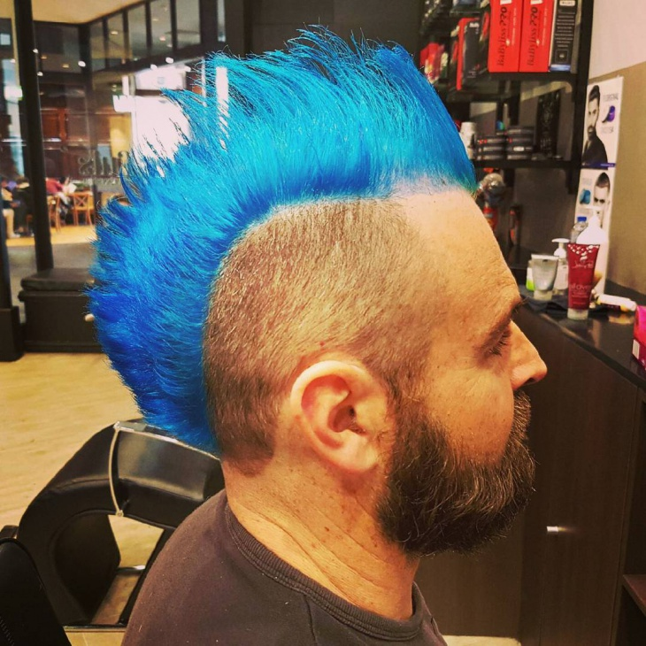 Blue Color Mohawk Haircut Idea