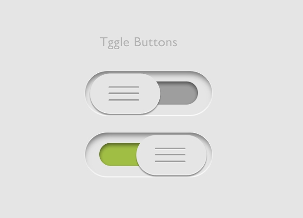 Black and White PSD Toggle Button