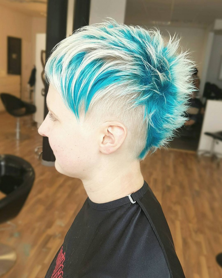 Blue and White Punk Hair