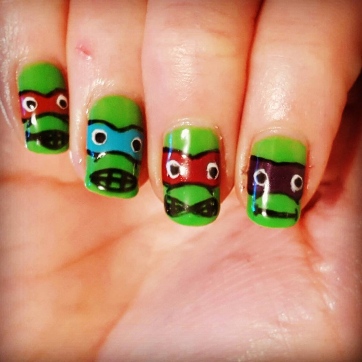 Funny Turtle Nail Art
