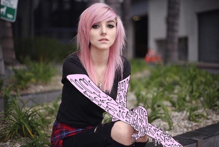 Pink Color Straight Punk Hair