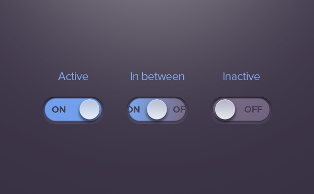 dark active and inactive toggle buttons
