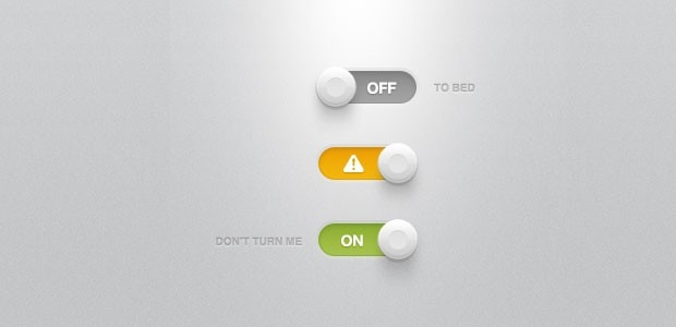 toggle switches with lights and shadow psd