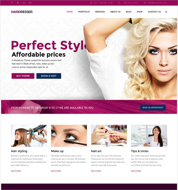 one click demo salon template1