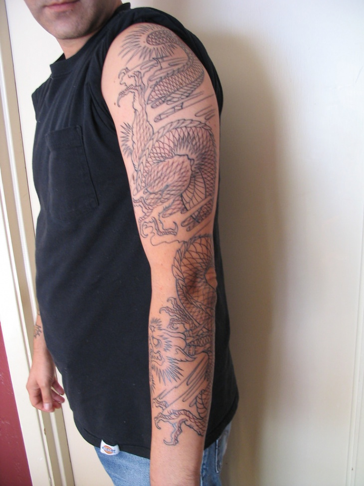 dragon sleeve tattoo design