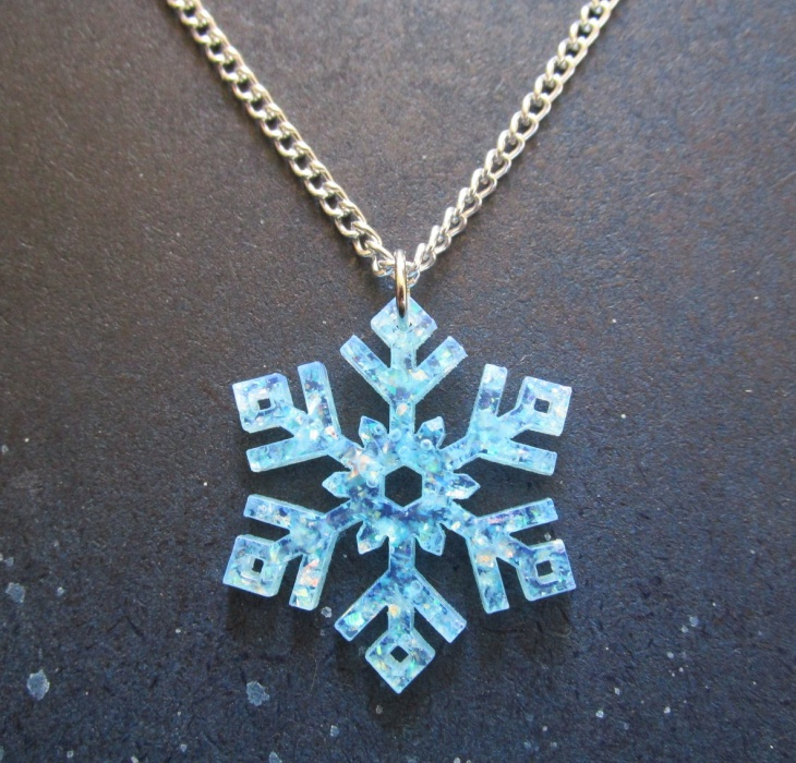 back necklace silver stock glitter stainless steel product snowflake in