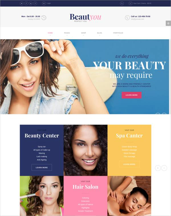multiple layout hair salon wordpress theme