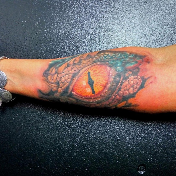 Forearm Dragon Eye Tattoo