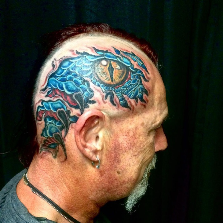 Blue Dragon Tattoo on Head