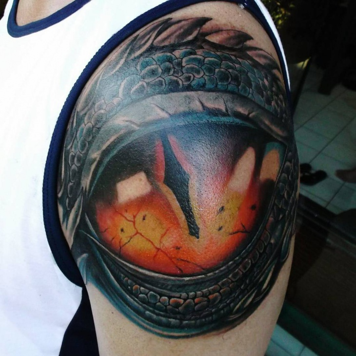 Dragon Eye Tattoo on Shoulder