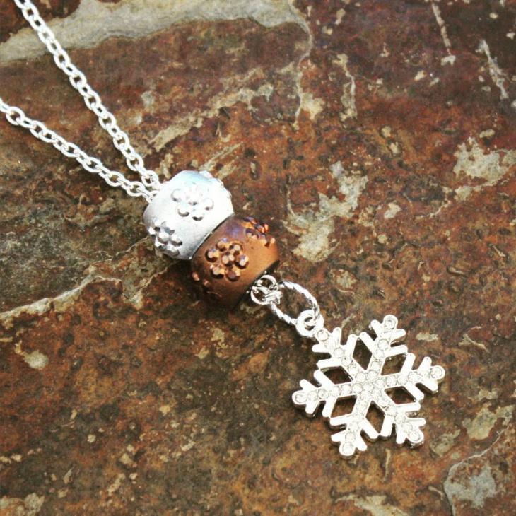 unique silver snowflake pendant