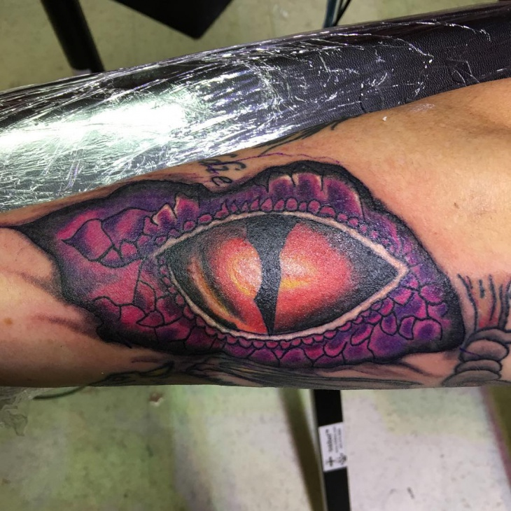Colorful Dragon Eye Tattoo