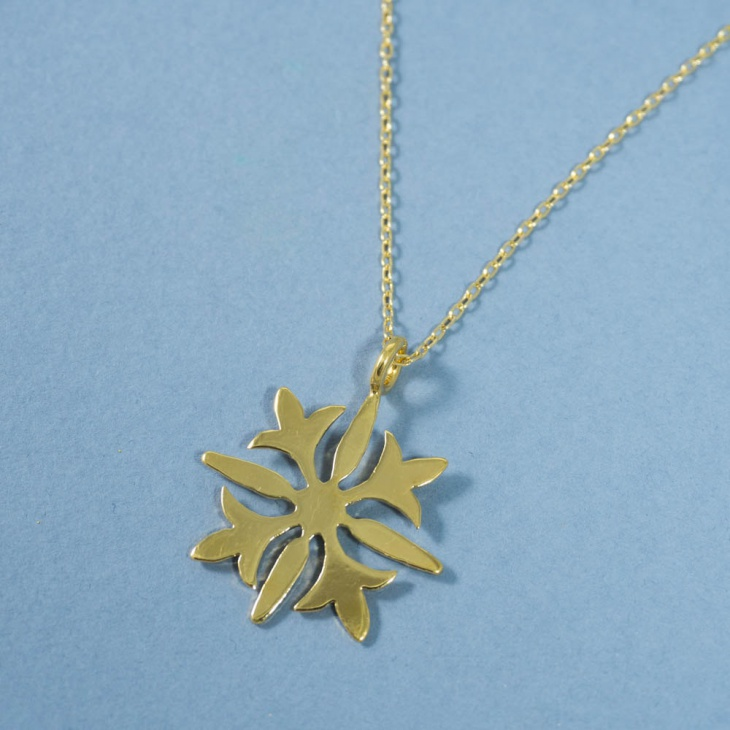 Gold Snowflake Pendant Necklace