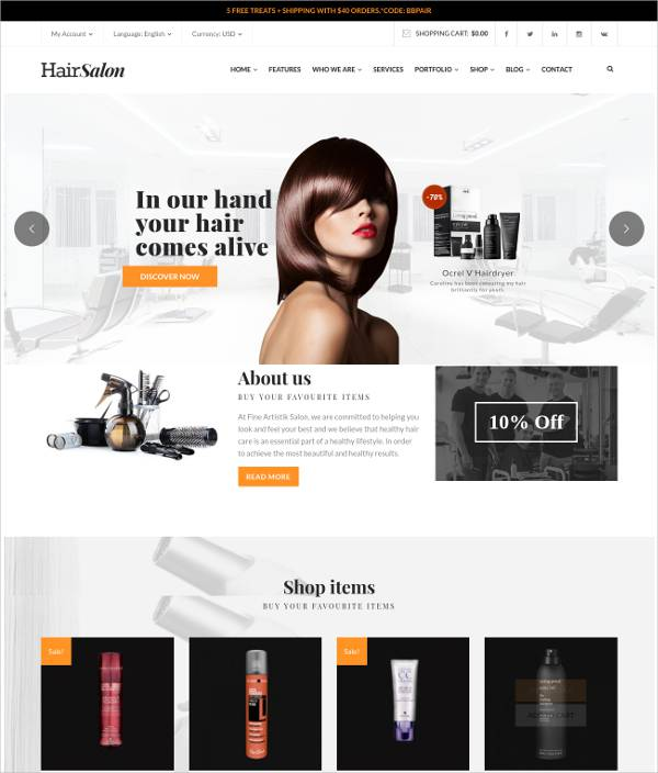 drag drop hair salon wordpress responsive theme