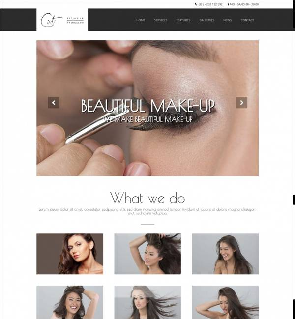 clean modern hair salon wordpress template1