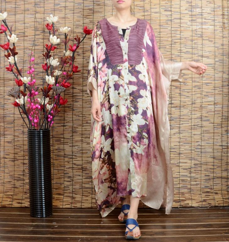 chiffon batwing sleeves dress