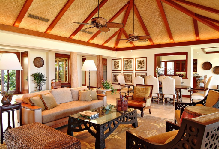 Tropical Living Room Roof Design