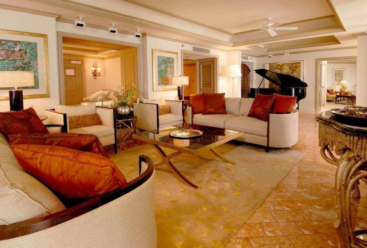 lavish family room floor design