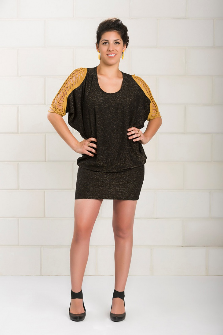 short sleeve batwing dress
